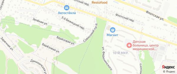 Совхозный проезд на карте Брянска с номерами домов