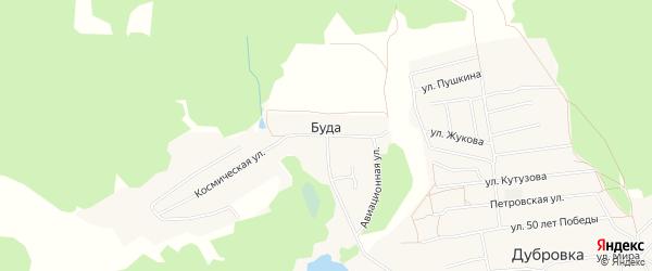 Карта деревни Буды в Брянской области с улицами и номерами домов