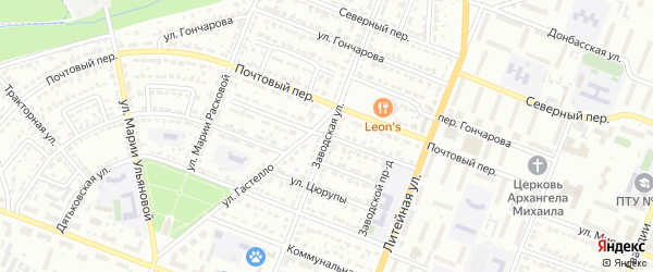 Заводская улица на карте Брянска с номерами домов