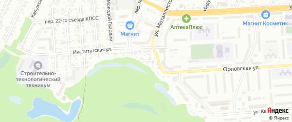 Институтский переулок на карте Брянска с номерами домов