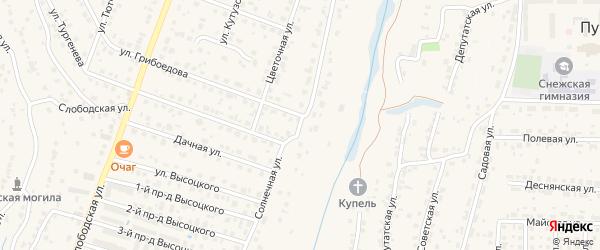 Солнечная улица на карте поселка Кузьмино с номерами домов