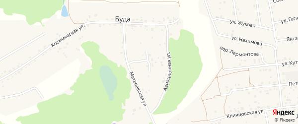 Авиационный переулок на карте деревни Буды с номерами домов