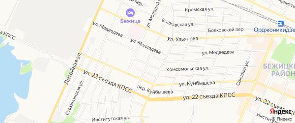 Территория Б/Г по пер. Металлистов на карте Брянска с номерами домов