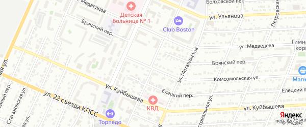 Переулок Металлистов на карте Брянска с номерами домов