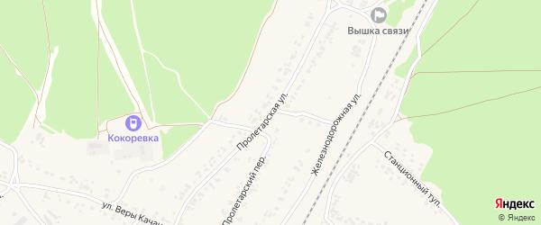 Пролетарская улица на карте поселка Кокоревки с номерами домов
