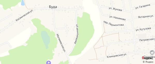 Авиационная улица на карте деревни Буды с номерами домов