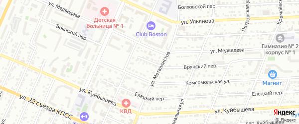 Брянский переулок на карте поселка Снежка с номерами домов