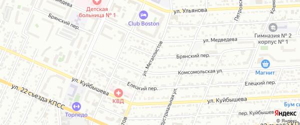 Улица Металлистов на карте Брянска с номерами домов
