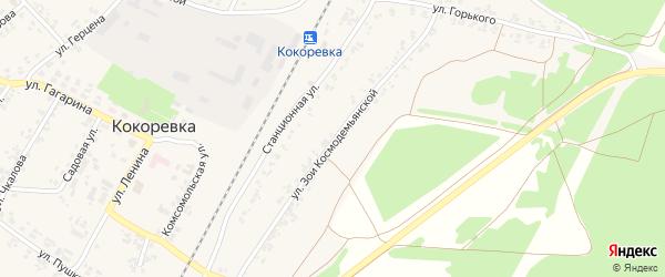 Улица Зои Космодемьянской на карте поселка Кокоревки с номерами домов