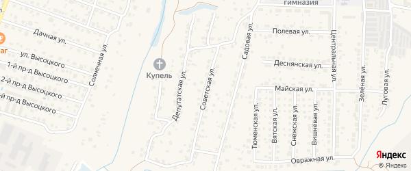 Советская улица на карте поселка Кузьмино с номерами домов