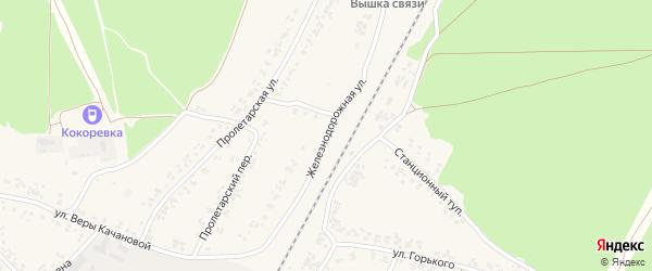 Железнодорожная улица на карте поселка Кокоревки с номерами домов