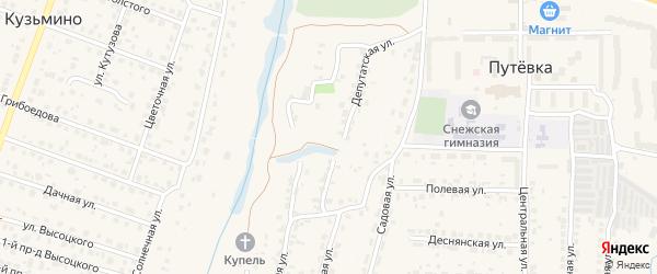Депутатский 2-й переулок на карте поселка Кузьмино с номерами домов