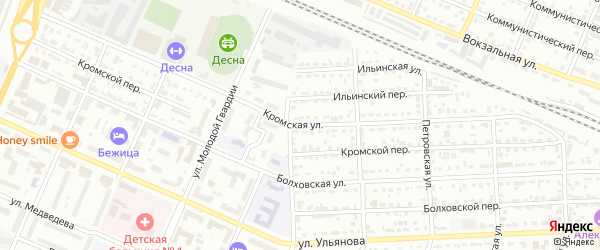 Кромская улица на карте Брянска с номерами домов
