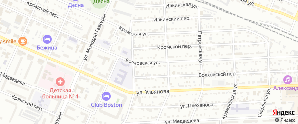 Болховская улица на карте Брянска с номерами домов