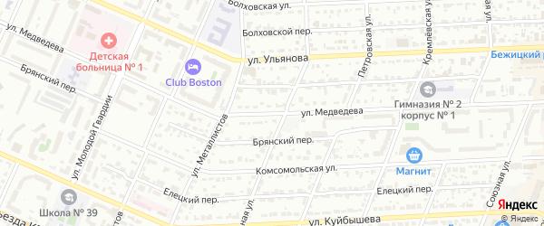 Улица Медведева на карте Брянска с номерами домов