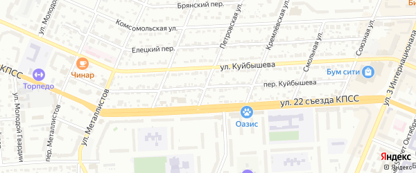 Переулок Куйбышева на карте Брянска с номерами домов