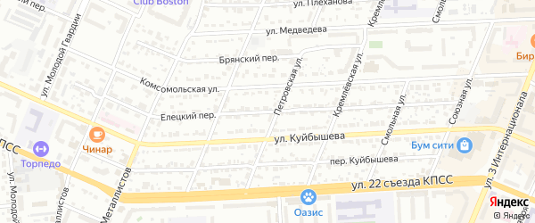 Елецкий переулок на карте Брянска с номерами домов