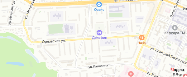 Со Земляника ул Орловская территория на карте Брянска с номерами домов