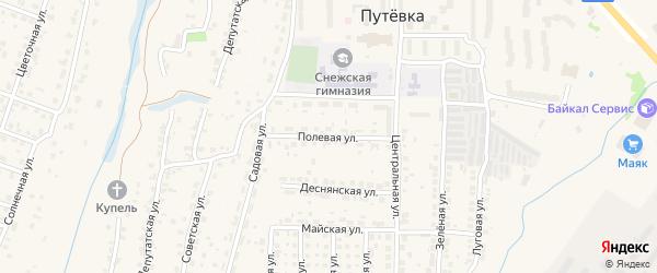 Полевая улица на карте поселка Путевки с номерами домов