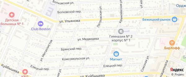 Петровская улица на карте Брянска с номерами домов