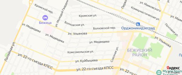 Территория ГО Плеханова на карте Брянска с номерами домов