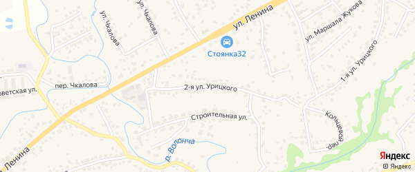 Улица 2-я Урицкого на карте села Супонево с номерами домов
