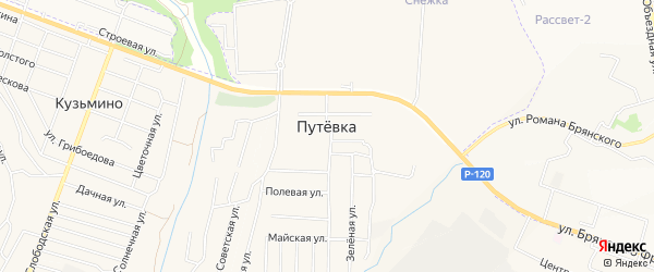 СТ Ручеек-2 на карте поселка Путевки с номерами домов