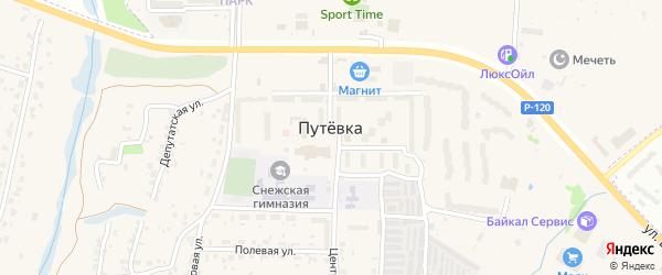 Придорожная улица на карте поселка Путевки с номерами домов
