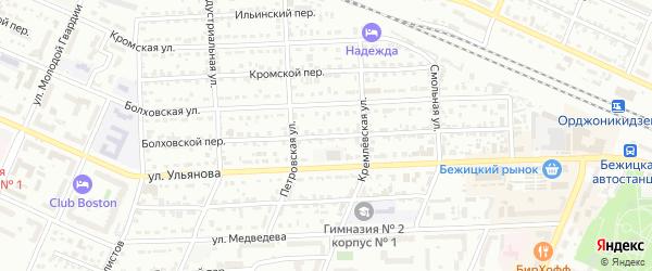 Болховской переулок на карте Брянска с номерами домов