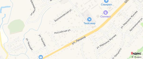 Российская улица на карте села Супонево с номерами домов