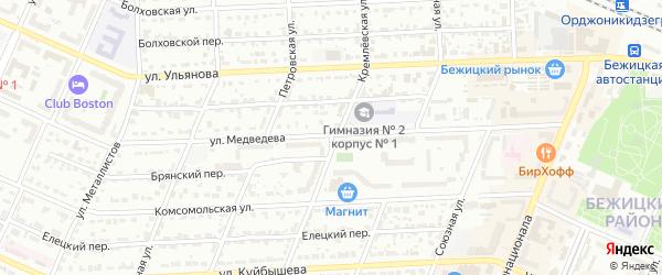 Кремлевская улица на карте Брянска с номерами домов