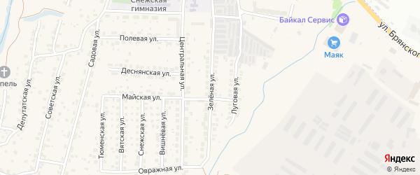 Зеленая улица на карте поселка Путевки с номерами домов