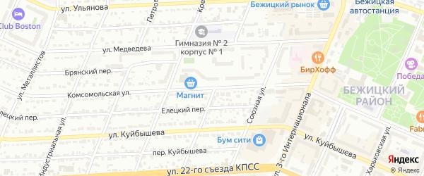 Комсомольская улица на карте Брянска с номерами домов