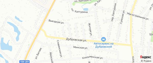 Вечерняя улица на карте Брянска с номерами домов