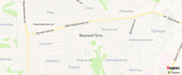 СТ Связист на карте поселка Верного Пути с номерами домов