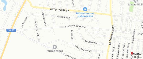 Ясная улица на карте Брянска с номерами домов