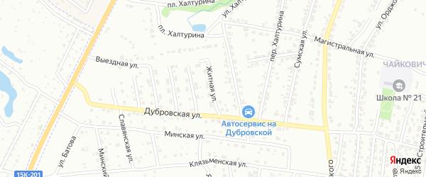 Житная улица на карте Брянска с номерами домов