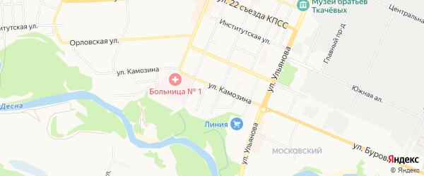 Территория ГО Камозина-7А на карте Брянска с номерами домов