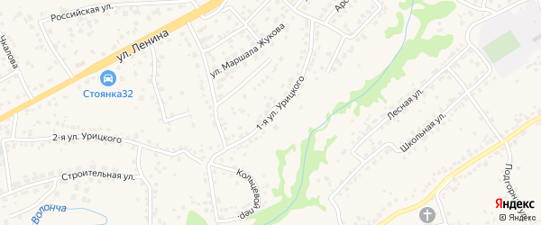 Улица 1-я Урицкого на карте села Супонево с номерами домов