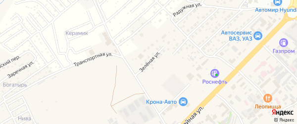 Зеленая улица на карте села Супонево с номерами домов