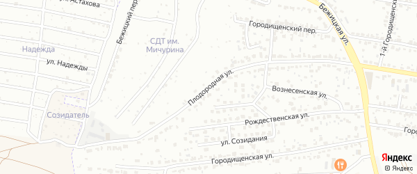 Плодородная улица на карте Брянска с номерами домов