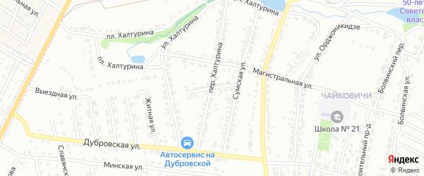 Подгорный переулок на карте Брянска с номерами домов
