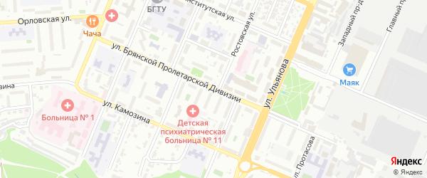 Улица Брянской Пролетарской Дивизии на карте Брянска с номерами домов