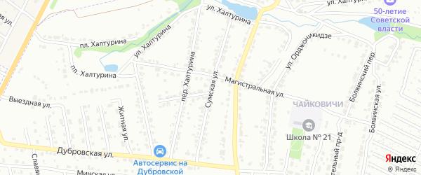 Сумская улица на карте Брянска с номерами домов