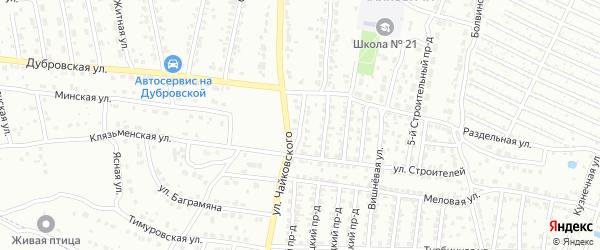 1-й Строительный проезд на карте Брянска с номерами домов