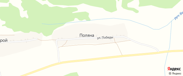 Улица Победы на карте поселка Поляна с номерами домов
