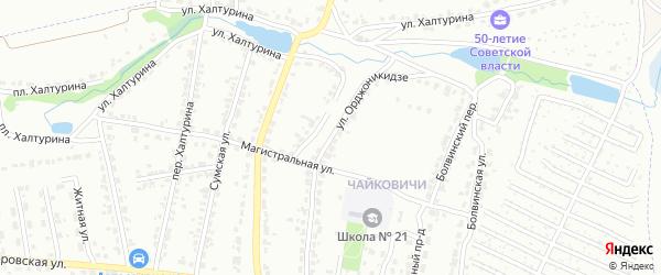 Улица Орджоникидзе на карте Брянска с номерами домов