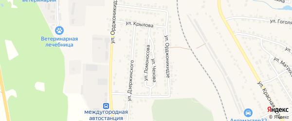 Улица Ломоносова на карте Дятьково с номерами домов