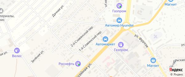 1-й Славянский переулок на карте села Супонево с номерами домов