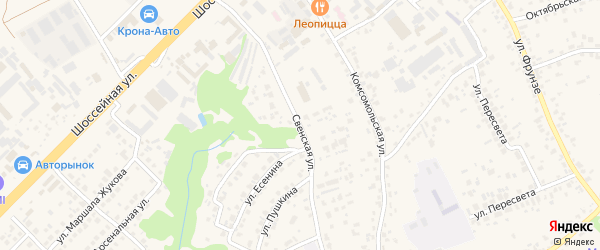 Свенская улица на карте села Супонево с номерами домов
